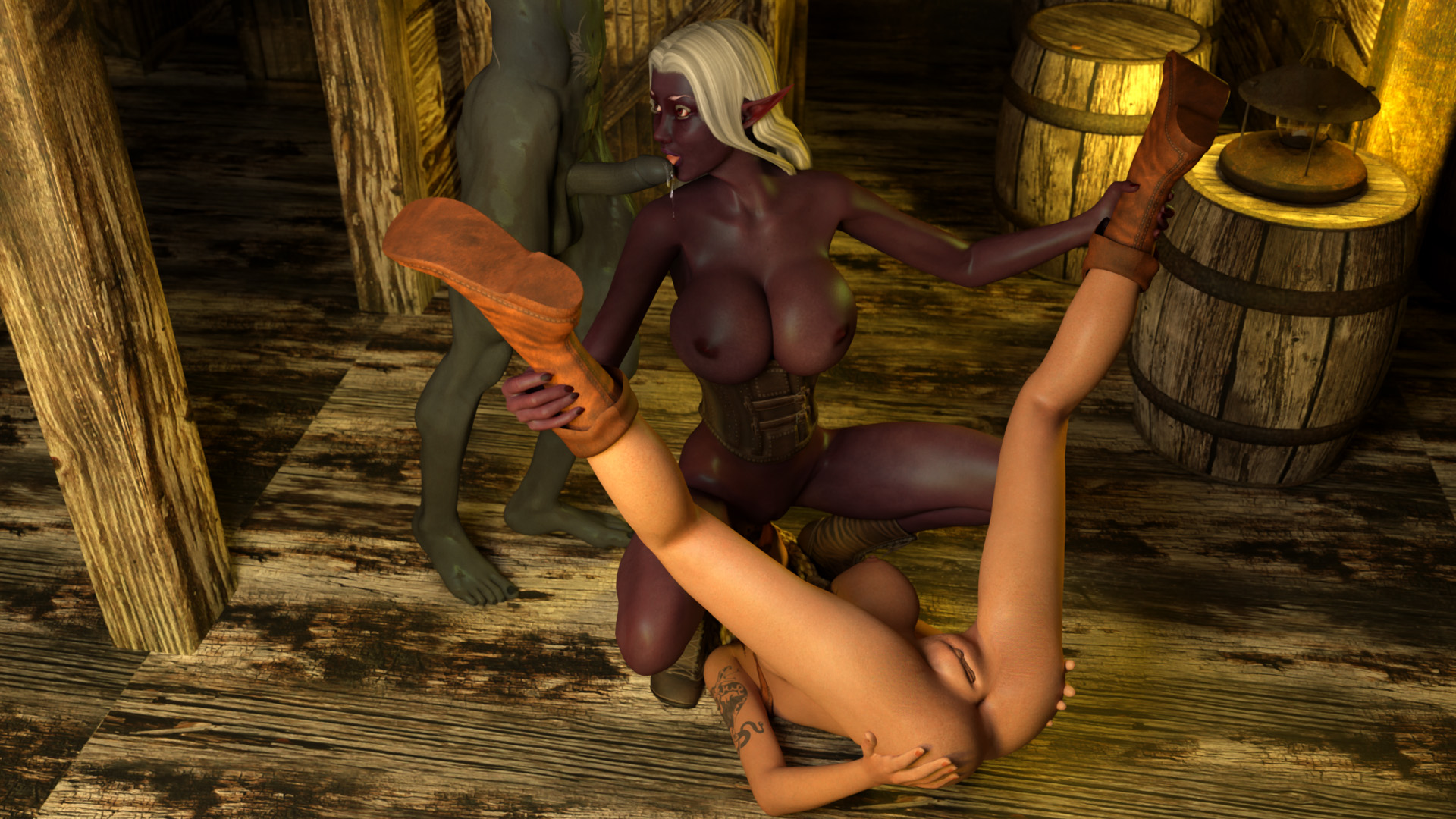 Nude elves in leather chaps erotic scene